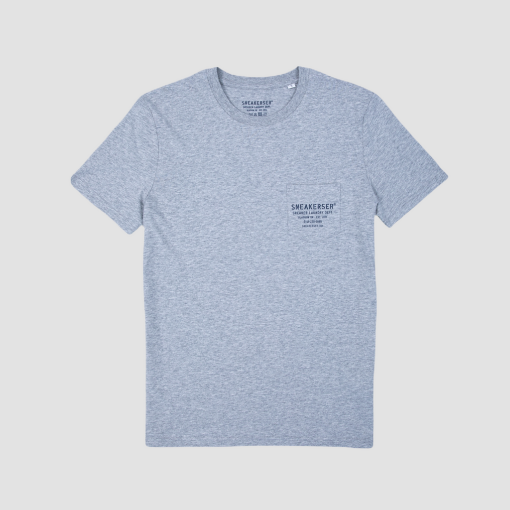 Sneakerser Tron Laundry Logo Pocket T Shirt - Heather Grey / Navy