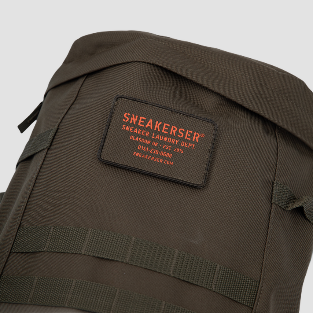 Sneakerser Urban Utility Backpack - Army Green / Safety Orange
