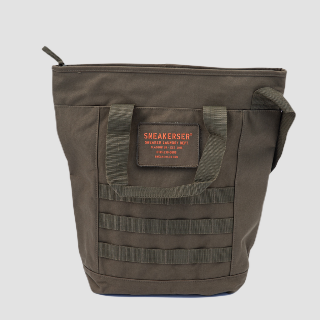 Sneakerser Urban Utility Tote Bag - Army Green / Safety Orange