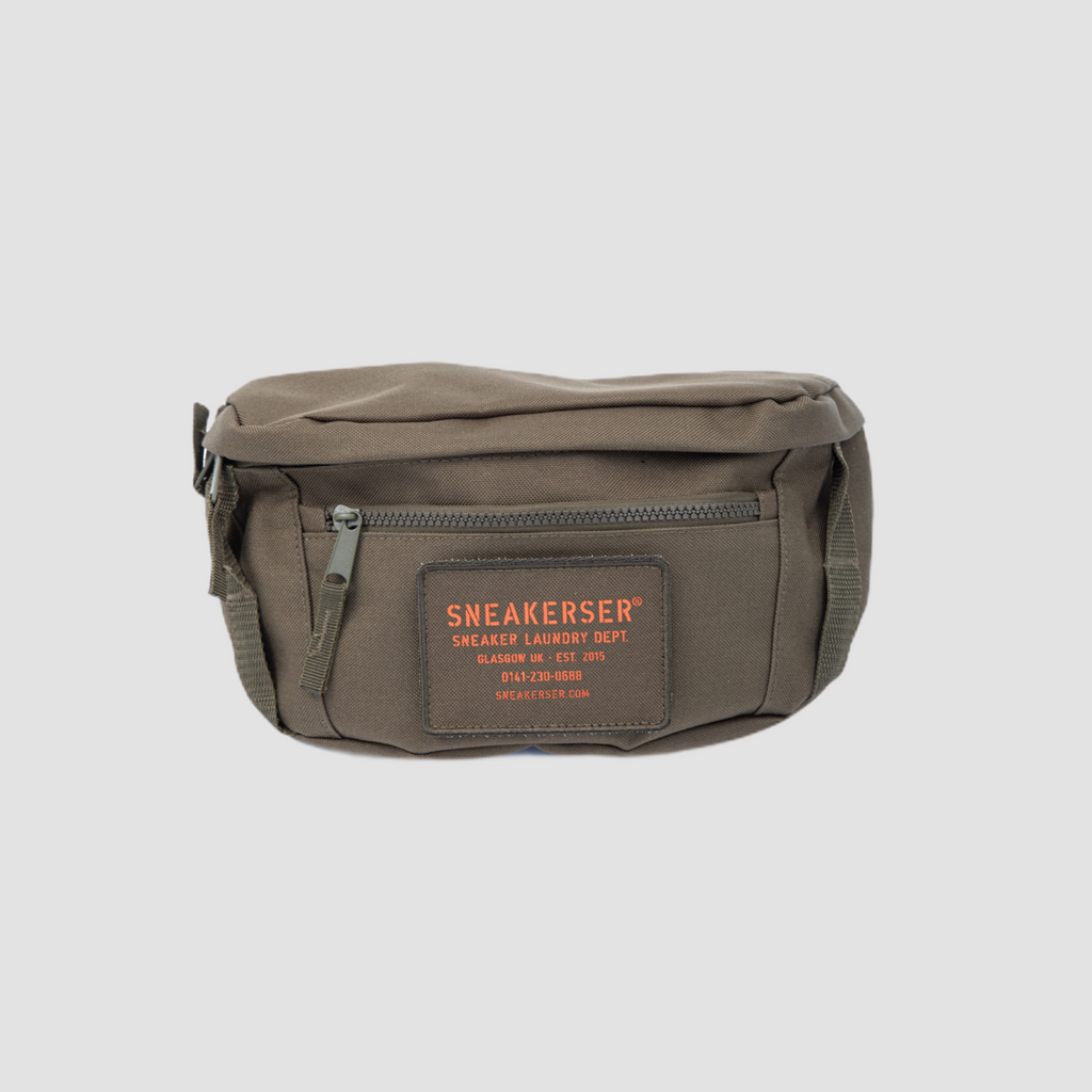 Sneakerser Urban Utility Waist / Cross Body Bag - Army Green / Safety orange