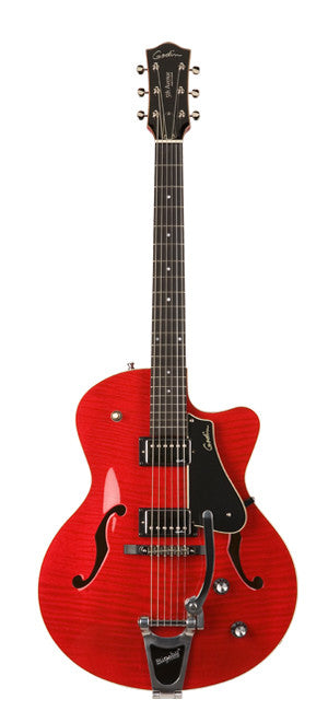 Godin 5th Avenue Uptown Arch Top w/ Tric Case - Trans Red Flame High Gloss