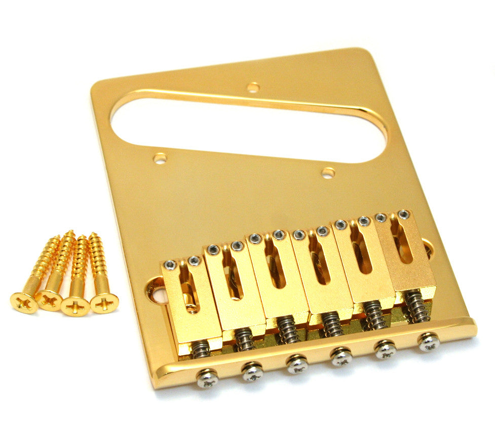 Allparts 6 Saddle Gotoh Brass Bridge For Tele (Rectangular Saddles) - Gold