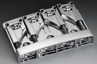 ALLPARTS SCHALLER BASS BRIDGE WITH ROLLERS / WITH 3 MM SPACER / CHROME / ADJUSTABLE SPACING 2-3/32 TO 2-1/2