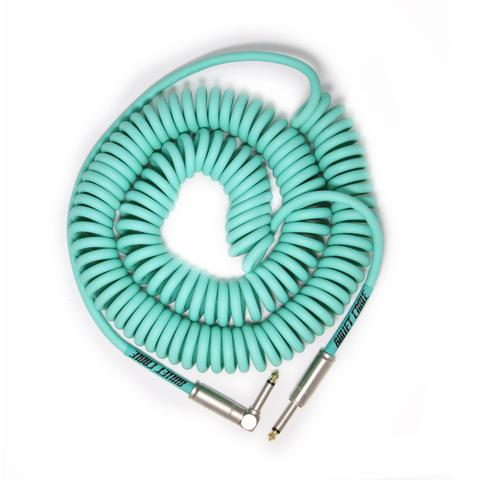 Bullet Cable 30' Seafoam Coil Cable (Straight to Right Angle)