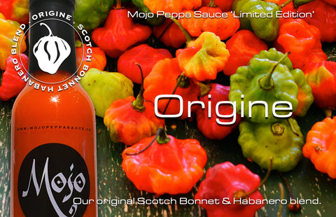 MOJO PEPPA SAUCE 'ORIGINE' SCOTCH BONNET & HABANERO BLEND HOT SAUCE 5 OZ. BOTTLE