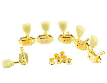 Gotoh 3+3 Vintage Kluson Style Tuning Machines/ Self Locking/ Ivory Buttons - Gold
