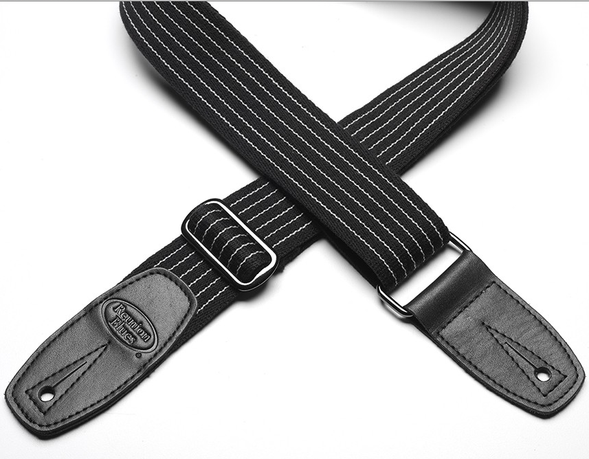 Reunion Blues Merino Wool Guitar Strap - Black Pinstripe w/ Black Leather Ends