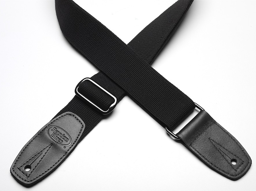 Reunion Blues Merino Wool Guitar Strap - Black w/ Black Leather Ends