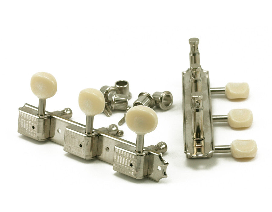 Kluson Traditional Oval Plastic Button Double Line Tuning Machines - Nickel