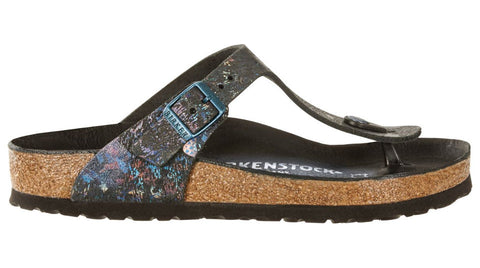 Birkenstock Gizeh Spotted Metallic Black Leather