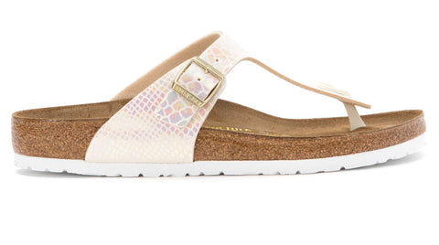 Birkenstock Gizeh Shiny Snake Cream - Sole Central