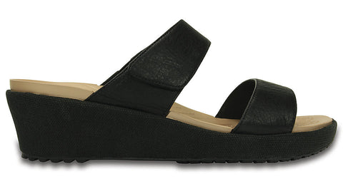 Crocs A-Leigh 2-Strap Mini Wedge Black
