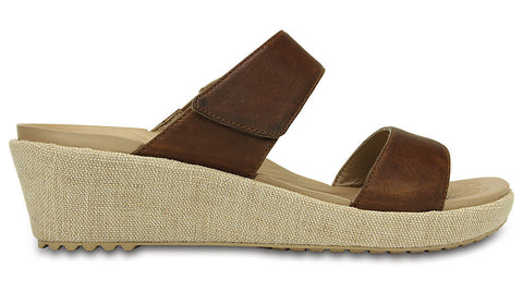 Crocs A-Leigh 2-Strap Mini Wedge Hazelnut Chai