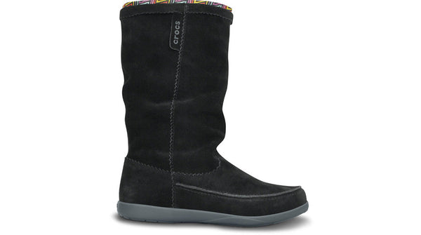 Crocs Adela Suede Boot Black Charcoal - Sole Central
