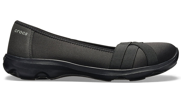 Crocs Busy Day Strappy Flat Black Slate Grey-Flats