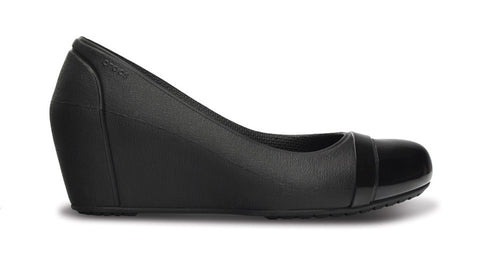 Crocs Cap Toe Wedge Black - Sole Central