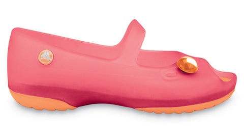 Crocs Carlie Flat Girls Hot Pink Cantaloupe - Sole Central