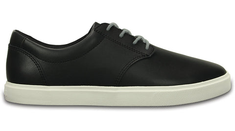 Crocs Citi Lane Leather Lace Up Black White