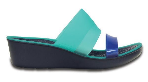 Crocs ColorBlock Mini Wedge Tropical Teal Nautical Navy - Sole Central
