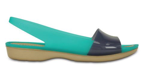Crocs ColorBlock Flat Tropical Teal Nautical Navy - Sole Central
