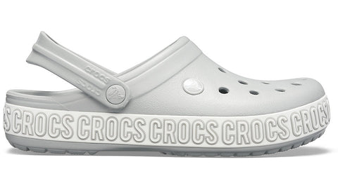 Crocs Crocband Logo Mania Clog Light Grey White-Clogs