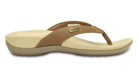 Crocs Ella Comfort Path Flip Hazelnut Mushroom - Sole Central