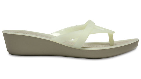 Crocs Isabella Wedge Flip Oyster Cobblestone-Wedges