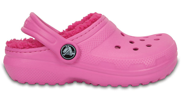 Crocs Kids Fuzz Lined Clog Party Pink Candy Pink-Clogs