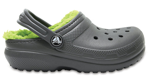 Crocs Kids Fuzz Lined Clog Slate Grey Volt Green-Clogs