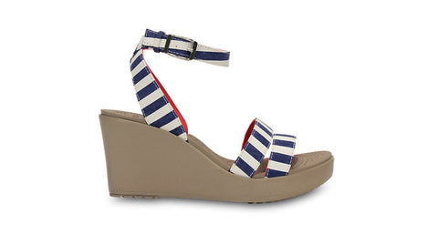 Crocs Leigh Graphic Wedge Navy White