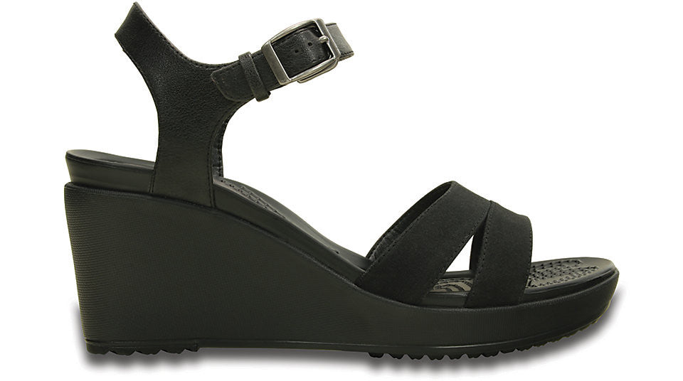 ead10a8888b Crocs Leigh II Ankle Strap Wedge Black – Sole Central