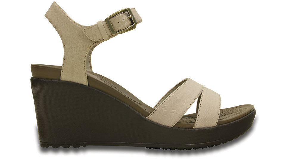 2e87d542369 Crocs Leigh II Ankle Strap Wedge Tumbleweed Espresso – Sole Central