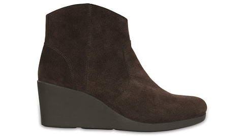 Crocs Leigh Suede Wedge Bootie Espresso
