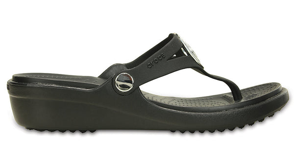 Crocs Sanrah Beveled Circle Wedge Flip Black