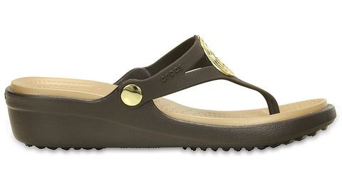 Crocs Sanrah Beveled Circle Wedge Flip Espresso Gold
