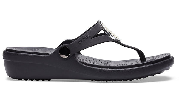 Crocs Sanrah MetalBlock Wedge Flip Multi Metal Black