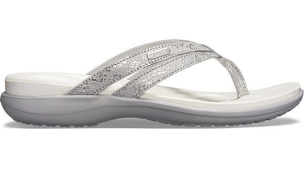 Crocs Capri Basic Strappy Flip Silver-Thongs