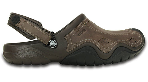 Crocs Swiftwater Leather Clog Espresso Black