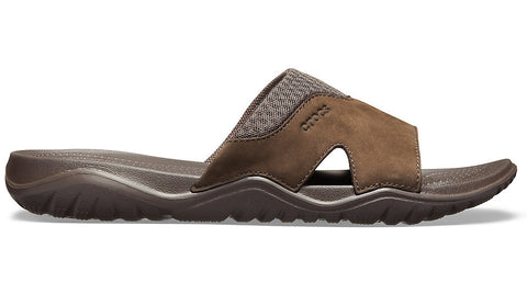 Crocs Swiftwater Leather Slide Espresso