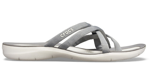 Crocs Swiftwater Webbing Flip Smoke Oyster-Sandals