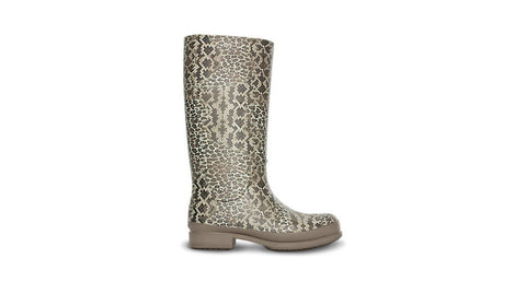 Crocs Wellie Leopard Print Boot Graphite Sand Dune