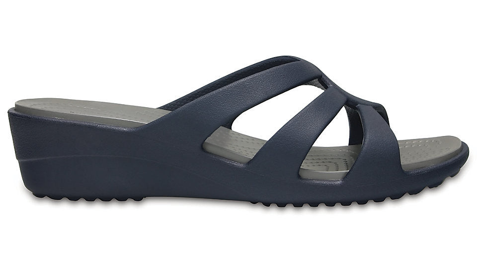 7a4be235b8c5 Crocs Sanrah Strappy Wedge Navy Smoke – Sole Central