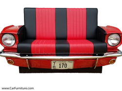 Red-1965-Ford-Mustang-Car-Front-With-Headlights-Retro-Vintage-Leather-Couch-Sofa-Decor-www.CarFurniture.com