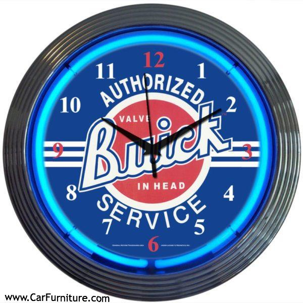 Authorized Buick Service Blue Neon Clock