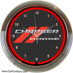 Dodge-Charger-Logo-Red-Neon-Wall-Clock-www.CarFurniture.com
