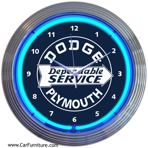 Dodge-Dependable-Service-Blue-Neon-Wall-Clock-www.CarFurniture.com