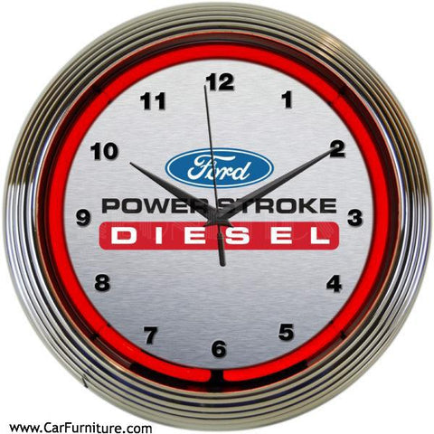 Ford-Diesel-Red-Neon-Wall-Clock-www.CarFurniture.com