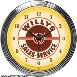 Willy's-Service-Station-Jeep-Yellow-Neon-Wall-Clock-www.CarFurniture.com