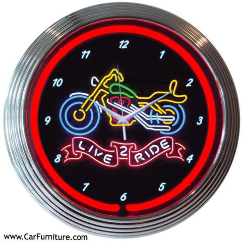 Multicolor-Neon-Live-to Ride-Motorcycle-Wall-Clock-www.CarFurniture.com