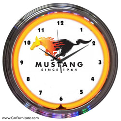 Ford Mustang Orange Neon Clock